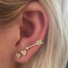 3Pcs Women Ear Stud Heart Arrow Shaped Crystal Rhinestones Gold Plated Earrings
