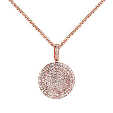 Custom Pillow Medallion Pendant Rose Gold Finish Simulated Diamond Box Necklace