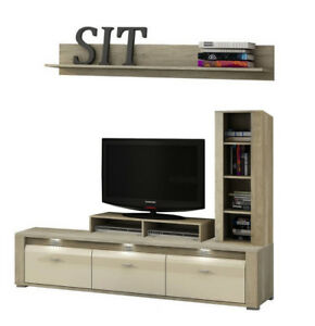 Living room furniture Tv stand unit shelf cabinet LED Lights high gloss front