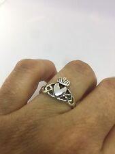 Vintage Celtic Claddagh 925 Sterling Silver Gothic Size 7.75 Ring