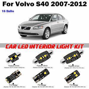 16pcs Car White Super Deluxe LED Full Interior Light Kit For Volvo S40 2007-2012