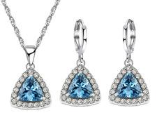 925 Sterling Silver Gorgeous Trillion Topaz Earrings Necklace Jewellery Set