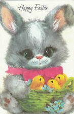 Vintage 1970's Happy Easter Greeting Card ~ Cute Big Eyed Bunny Rabbit & Chicks
