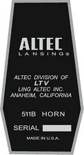 ALTEC LANSING Decal For 511B HORN. A7  VOTT set of four (4)