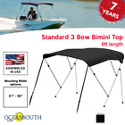 Oceansouth Bimini Top 3 Bow Boat Cover Black 61-66 Wide 6ft Long W Rear Poles