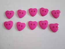 NEUF *** LOT 10 BOUTONS COEUR ROSE 13 MM