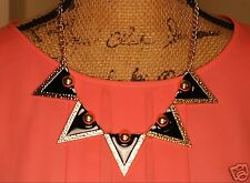 Urban Trend Black Enamel Triangles Spikes Edgy Statement Necklace & Earrings NEW