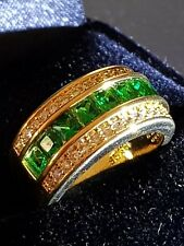 Emerald QUARTZ  18CT YELLOW GOLD  GF UNISEX BAND RING SIZE 6 US