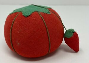 Vintage Large Tomato Pin Cushion With Hanging Strawberry