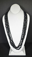 Asian India Round Dyed Black Glass Beads Necklace 4 Strands Women Design Fashion