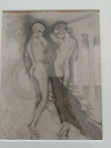 Vintage Art Deco Framed Etching/Print (?) of Two Nude Women – no signature