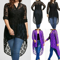 2018 Women's Long Sleeve Button Up Plus Size Blouse High Low Lace Plus Size Tops