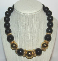 Vintage Monet Black Gold Choker Bead Necklace Chunky Lucite Metal