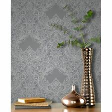 Incanto Grey Glitter Damask Wallpaper by Rasch - 308501