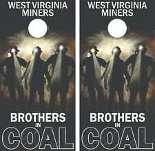 West Virginia Coal Miners Cornhole Board Skin Wrap Decal Set bag toss -LAMINATED
