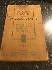 ORIGINAL 1932 MORRIS-COWLEY CAR SERVICE OPERATION REPAIR OVERHAUL & PARTS MANUAL