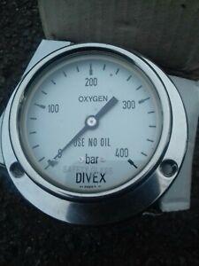 Divex Breathing Air Oxygen Gauge 400 Bar 63mm
