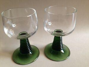2 Vintage Green Beehive Stem Wine Glasses