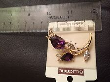 Exqusite double rose bud purple Crystal Brooch