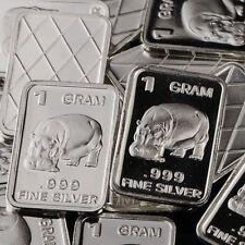 Lot 30 X 1 Gram  .999  Fine Silver Bar Bullion  / Hippopotamus      L5WPT364 oz
