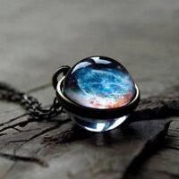 Glow In Dark Retro Galaxy Universe Glass Ball Pendant Luminous Women Necklace
