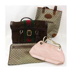 Gucci Nylon PVC Suede Leather Hand/Tote Bag Brief Case 4pc set 525644