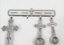 Serenity Prayer Measuring Spoons with Hanger Embossed Silver Collectible