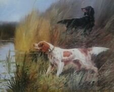 More details for eugene petit.  english and gordon setters putting up a mallard. framed print.