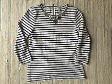 J Crew Striped Beaded Shirt Top Size XS Navy/Cream Preppy Southern Sparkly