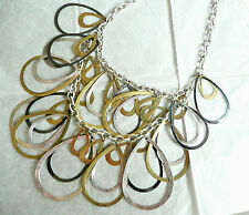 ACCESSORIZE STATEMENT NECKLACE – DOUBLE ROW OF VERY LARGE TEARDROP SHAPES - NEW