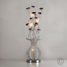 Contemporary Large Aluminium Floor Lamp Flower Design Silver  Purple Lighting