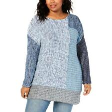 Style & Co. Womens Blue Crewneck Tunic Pullover Sweater Top Plus 0X BHFO 9676