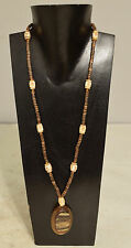 Necklace Brown Indonesian Horn Ova Coconut Heishi Etched Bone Necklace