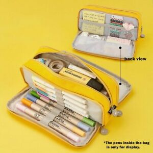 Double Sided Pencil Case Pen Bag Canvas Pocket Storage Pouch Stationery School