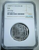 NGC 1769 Spanish Bolivia Silver 8 Reales Antique Graded Colonial Dollar Cob Coin