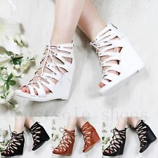 WOMENS LADIES ANKLE STRAP WEDGES LACE UP PLATFORM SANDALS HIGH HEELS SHOES SIZE