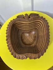BEAUTIFUL Collapsible Folding Rustic Hand Carved Wood Apple Fruit Nuts Basket