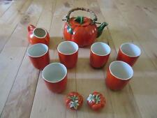 VINTAGE OCCUPIED JAPAN CERAMIC PUMPKIN TEA SET TEAPOT TUMBLERS SALT PEPPER SUGAR
