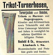 G. Haubold & Co. Limbach I. sa. MAGLIA-Turner Pantaloni storica la pubblicità di 1907