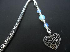 Tibetano Silver OPALITE Perlina & ciondolo a cuore segnalibro. NUOVO