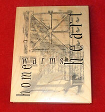 home warms the heart Club Scrap rubber stamp collage limited edition art stamps