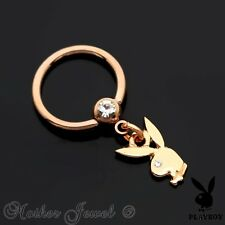 14K ROSE GOLD IP 16G 10MM PLAYBOY DANGLE CHARM CBR SEPTUM CAPTIVE BALL RING
