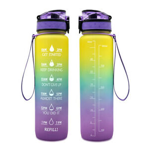 1L Motivational Water Bottles with Time Marker BPA Free Leakproof Water Bottle