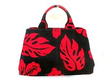 Auth PRADA Canapa B2642B Black Red Canvas Tote Bag w/Dust Bag