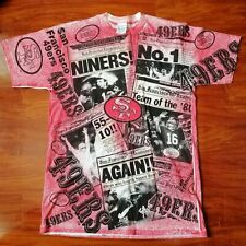 Vintage SF 49ers Montana NFL Front Pages News All Over Print Single Stitched  L