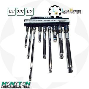 "Extension Bar Set Wobble 1/4"" 3/8"" 1/2"" 9pcs CrV Steel Honiton H4309"