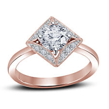 Diamond Women Ring 14K Rose Gold Over 1.35 Ct Round D/Vvs1 Valentine Day Special