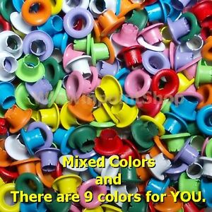"""Lot 5000 Pcs Mixed Color 1/8"""" Round Eyelet Scrapbooking Card Hole leather Craft"""