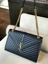 Yves Saint Laurent Ysl Monogram Gold Chain Wallet Shoulder Bag Black