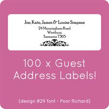 100 CUSTOM WEDDING GUEST LIST LABELS INVITATIONS ADDRESS STICKY STICKERS